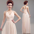 L378 Pink Long Formal Wedding Prom Party Bridesmaid Evening Ball Gown Dress