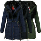 Marikoo Turnam Damen Winter Jacke Steppmantel Parka Fell Kragen Warm Gefüttet