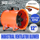 """12"""" Extractor Fan Blower portable 5m Duct Hose Workshop Garage air mover Fume"""