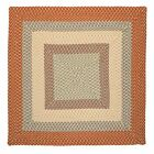 Montego Indoor Outdoor Square Braided Rug, Tangerine ~ Made in USA