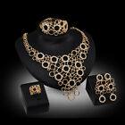 Women Retro Glod Plated Crystal Bridal Jewelry Sets Alloy Necklace Earring Set