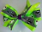 Beetlejuice black white green striped grosgrain boutique layered hair bow