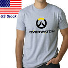 Hot men cotton OW overwatch game logo printed Tshirt Crew Neck Short Sleeve tee