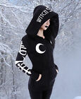 Gothic Wicca Pagan Witchy Jacke Pullover Hoodie Kapuze Mond okkult S M L XL XXL