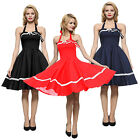 60'S Womens Vintage Retro Hepburn Style Halter Pinup Evening Party Dance Dress