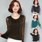 Womens Long Sleeve Casual Blouse Shirt Tops Lace Mesh T-shirt Attractive Pretty