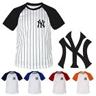NewYork NY Yankees Stripe Baseball Raglan Dry fit Tshirts tee Jersey Top CD