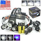 BORUiT 13000lm XM-L 3xLED Headlamp Camping Headlight 2x18650+USB/AC Charger Kit