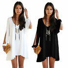 New Womens Casual Loose Off Shoulder Long Blouse Top Chiffon Shirt Mini Dress