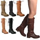Womens Lace Up Combat Western Leather Knee High Boots Buckle Straps Black Tan