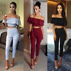 Women 2 Piece Clubwear Playsuit Bodycon Party Jumpsuit Romper Long Trousers