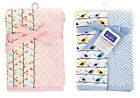 Hudson Baby - Baby Boys Blue Chicks & Girls Pink Branches 2 Pack Swaddle Blanket