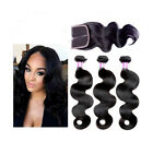 3 pcs Body Wave Brazilian Human Hair Weaves Extensions with Middle Part Closure