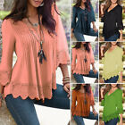 New Fashion Womens Ladies Loose T Shirt Long Sleeve Lace Tops Shirt Blouse S-4XL