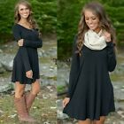 Women Mini Dress Long Sleeve V Neck Casual Oversized Party Evening Fleece TXSU