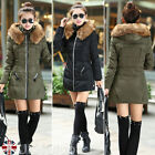 UK Womens Winter Warm Down Jacket Cotton Hooded Fur Collar Parka Coat Outerwear