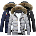 UK Mens Winter Warm Trench Coat Fur Hooded Jacket Parka Padded Overcoat Outwear