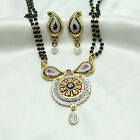 24k gold & rhodium plated Simulated CZ Mangalsutra With Chain & Earring set M473