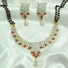 24k gold & rhodium plated Simulated CZ Mangalsutra With Chain & Earring set M502