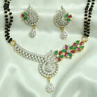 24k gold & rhodium plated Simulated CZ Mangalsutra With Chain & Earring set M497