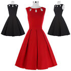Womens Retro Vintage Sleeveless Cocktail Formal Mini Short Party Housewife Dress
