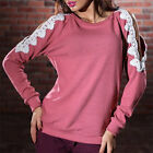 Women Fashion Sweater Off Shoulder Lace Hollow Jumper Piullover TopOutwear