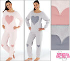 New Ladies Heart Pattern Fluffy Twosie Pyjamas Grey Pink Size 8-10 12-14 16-18