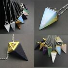 Natural Amethyst Rose Quartz Opal Pyramid Pointed Reiki Chakra Pendant Necklace