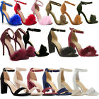 Kyпить NEW Women Ankle Strap Fur Stiletto Pumps Open Toe Chunky Block High Heels Sandal на еВаy.соm