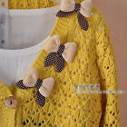 Women Sweater Vintage V Neck Button Down Cardigan Bowknot Long Sleeve Knit Top M