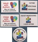 AUTISM PIN service dog badge pin-button use instead of patch ROUND or RECT