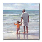 Father and Daughter on the Beach Art Tile Print on Ceramic w/ Hook or Felt Feet