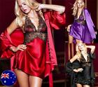 Red Satin Lace Babydoll plus Dressing Gown size 8-16 Set Sexy Lingerie Nightwear