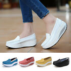 Women Fashion Leather Shoes Loafers Platform Casual Shape Up Toning Wedge Shoes