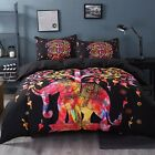 4pc. Colorful Elephant Boho Indian Style Queen Size Duvet Comforter Set
