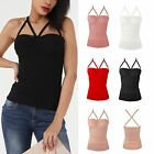 Womens Ladies Strappy Bra Cup Cross Back Ribbed Bandage Stretch Bodycon Top