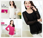 Women's Fashion Work Party Casual Loose Long Sleeve Shirt Tops Blouse S - XXL