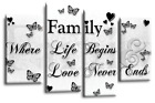 LARGE FAMILY QUOTE BLACK AND WHITE CANVAS WALL ART PICTURE 4 PANEL SPLIT MULTI