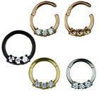 1,2mm Rose Gold Silber Septum Clicker Piercing Kristalle Segment Ring Scharnier