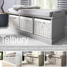 Tetbury Bench with 3 Storage Baskets. Sturdy hallway bench with cushion seat.