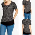 755 Women's Stylish Short Sleeve Shirt Pattern Contrast Textured Top Size S M L
