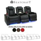 Seatcraft Delta Red Leather Home Theater Seating Power Recline Row of 3