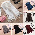 Women Classic Knit Rabbit Fur Waistcoat Vest Gilet Coat Sweater Tassels Perfect