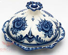 Gzhel Porcelain crepe pancake dish holder plate Hand-painted Блинница Auther Wrk