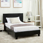 Twin Full Queen Faux Leather Platform Bed Frame & Slats Upholstered Headboard
