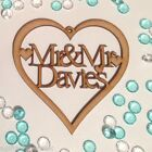 Personalised Laser Cut Heart with Mr & Mrs + Surname. Wedding Anniversary Gift