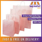 Strong Light Pink Twisted Handle Paper Bags | Kraft/Gift/Fashion/Shop/Carrier