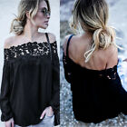 Summer Women Off Shoulder Blouse Lace Long Sleeve Tops Casual T Shirt Pullover