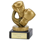 BOXING TROPHY GOLDEN GLOVES RESIN & MARBLE AWARD 4 SIZES AVAILABLE ENGRAVED FREE