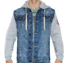 CIPO AND BAXX COTTON BLUE TRENDY DENIM JACKET WITH HOOD C1294